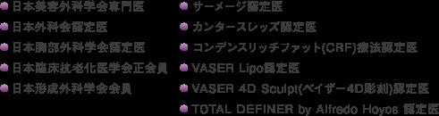 日本美容外科学会専門医,日本外科会認定医,日本胸部外科学会認定医,日本臨床抗老化医学会正会員,日本形成外科学会会員,サーメージ認定医,カンタースレッズ認定医,コンデンスリッチファット(CRF)療法認定医,VASER Lipo認定医,VASER 4D Sculpt(ベイザー4D彫刻)認定医,TOTAL DEFINER by Alfredo Hoyos 認定医